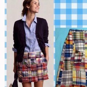 J. Crew madras patchwork mini skirt sz 2